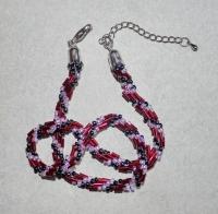 39+cm rosa tranparent-rot-schwarz Halskette (handgefertigt)