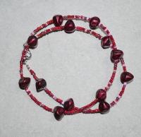 49cm / rosa-dunkelrot Halskette (handgefertigt)