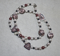 51cm / weiss-braun-schwarz Halskette (handgefertigt)