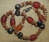 40cm / brau-beige-orangerotbraun Halskette (handgefertigt)