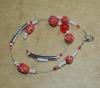 44cm / rot, weiss, gelb Halskette  (handgefertigt)